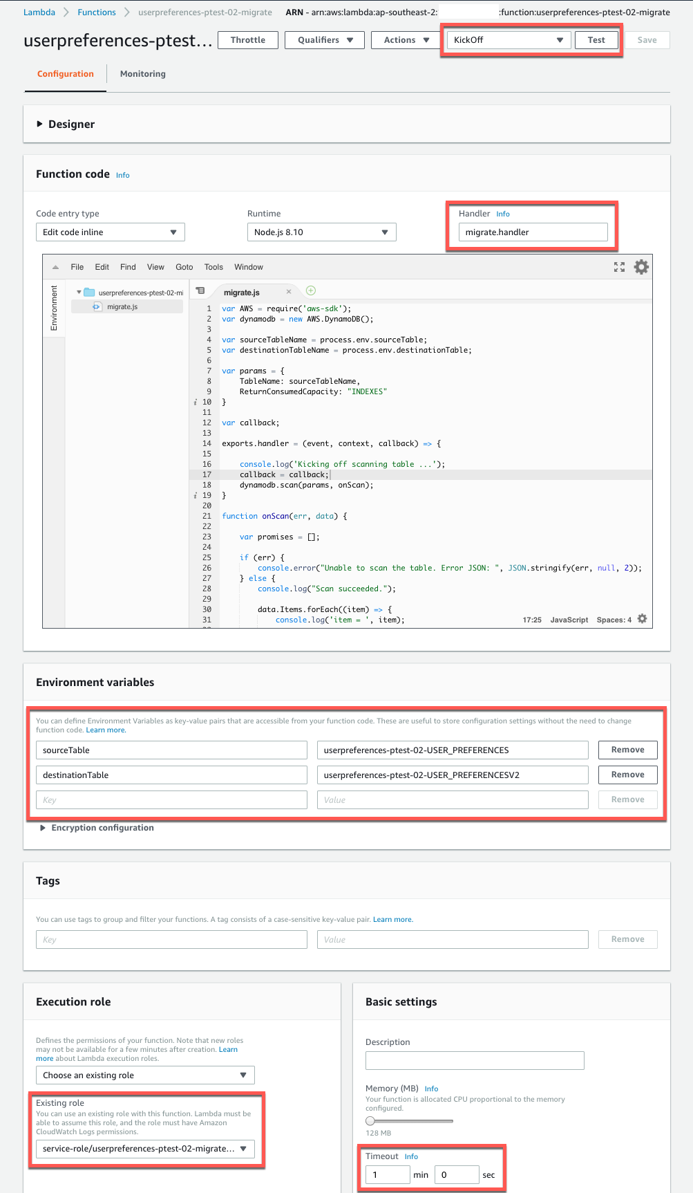 Setup Lambda migrate & sync AWS DynamoDB to new table